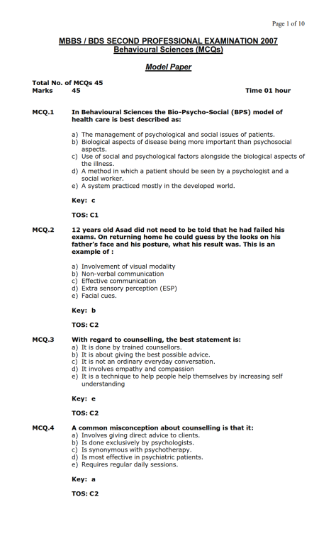 Behavioural Sciences Model MCQ 2007 (1)