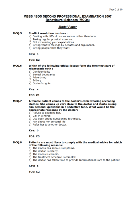 Behavioural Sciences Model MCQ 2007 (2)