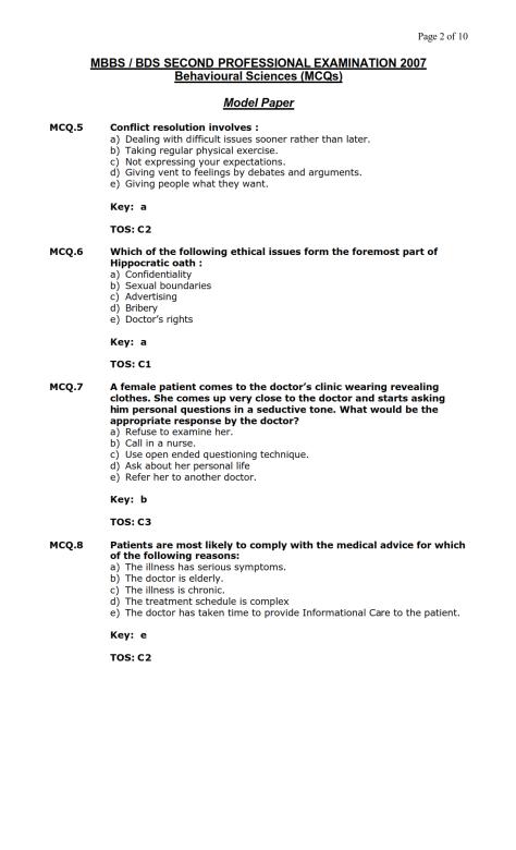 Behavioural Sciences Model MCQ 2007 (2)