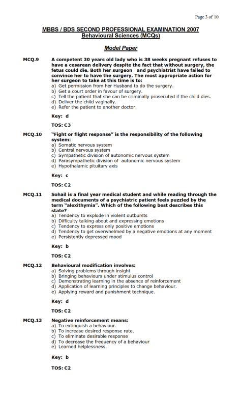 Behavioural Sciences Model MCQ 2007 (3)