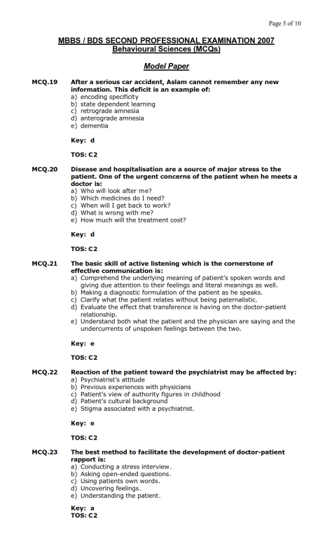 Behavioural Sciences Model MCQ 2007 (5)