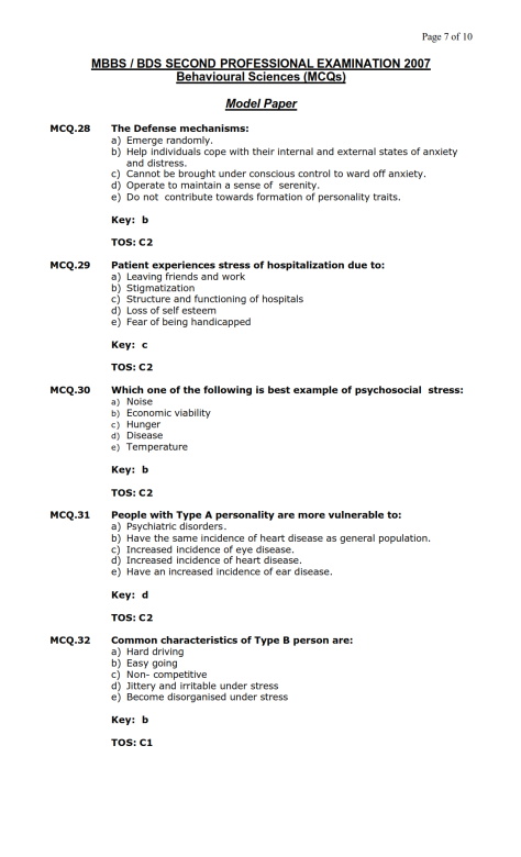 Behavioural Sciences Model MCQ 2007 (7)