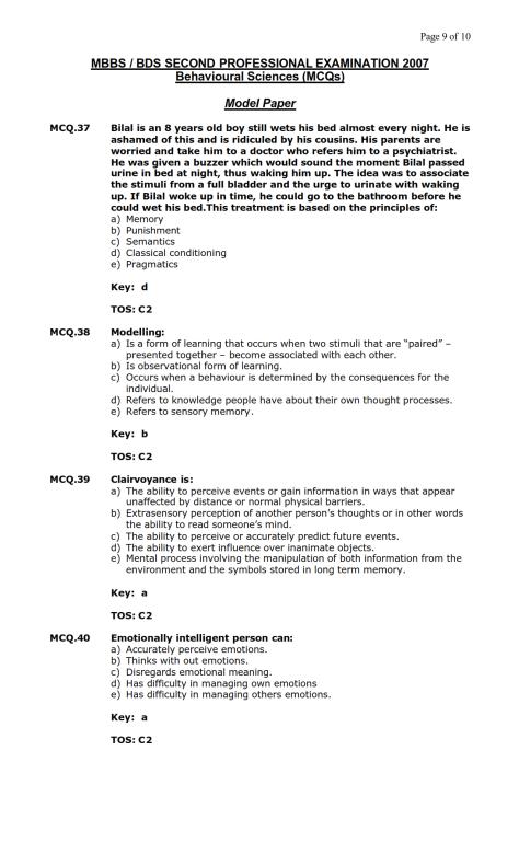 Behavioural Sciences Model MCQ 2007 (9)