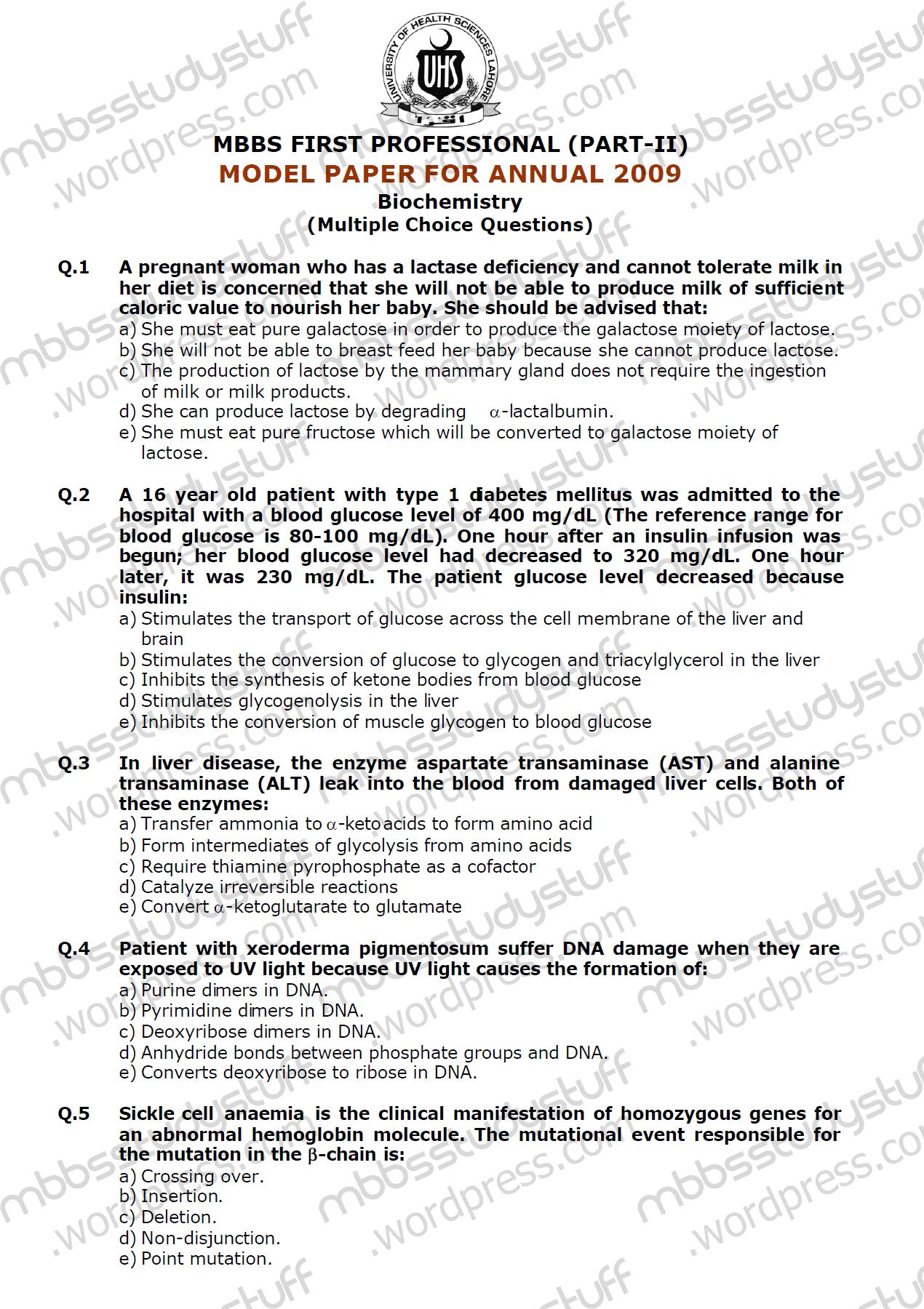 biochem uhs mcq | MBBS Study Stuff