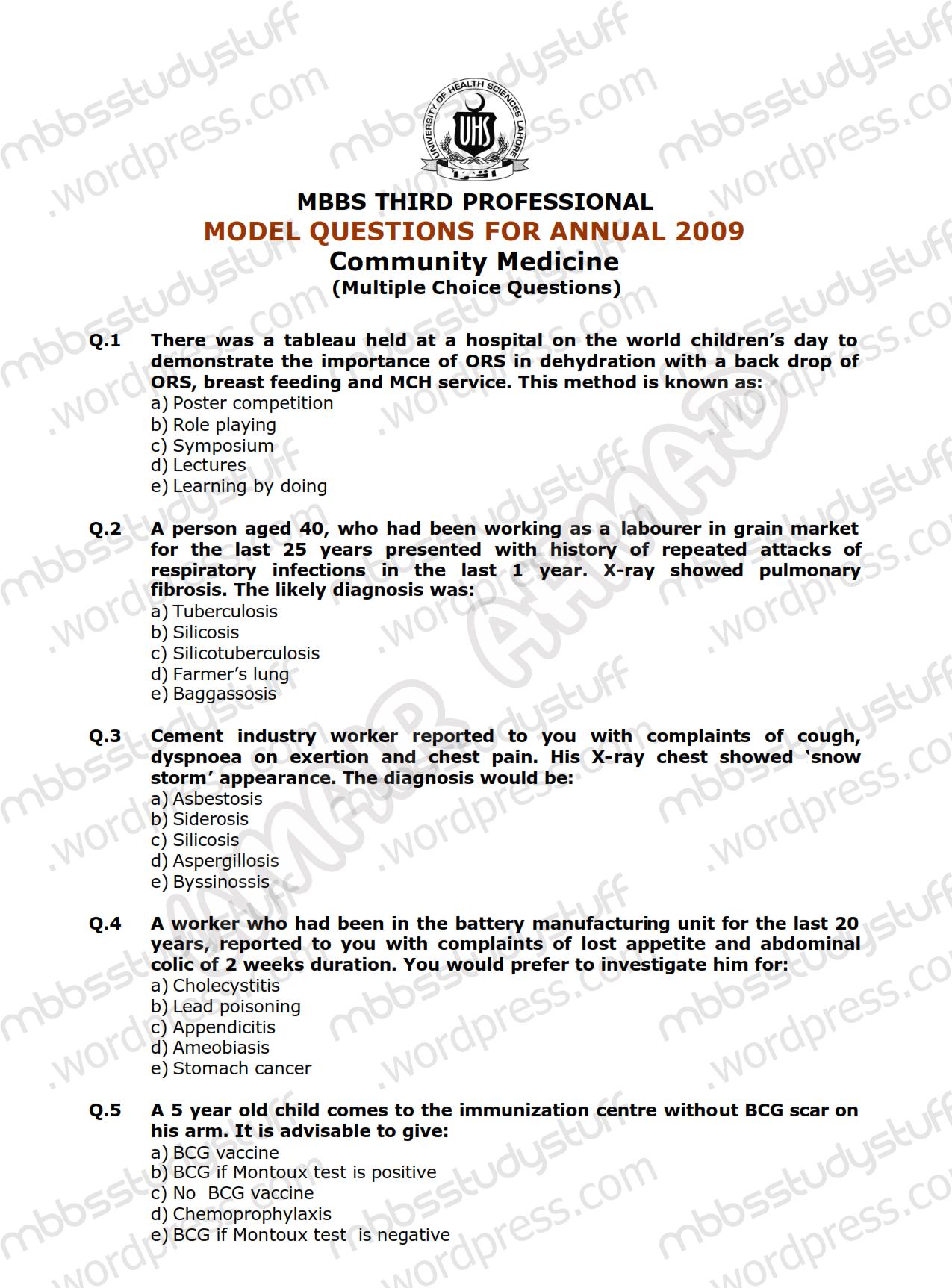 Community Medicine MCQ Model Paper 2009 | MBBS Study Stuff