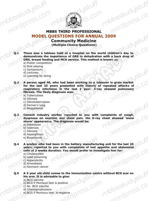Community Medicine Model MCQ 2009 (1)