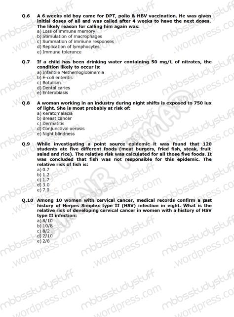Community Medicine Model MCQ 2009 (2)