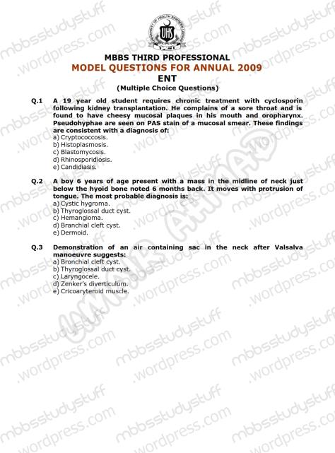 ENT Model MCQ 2009