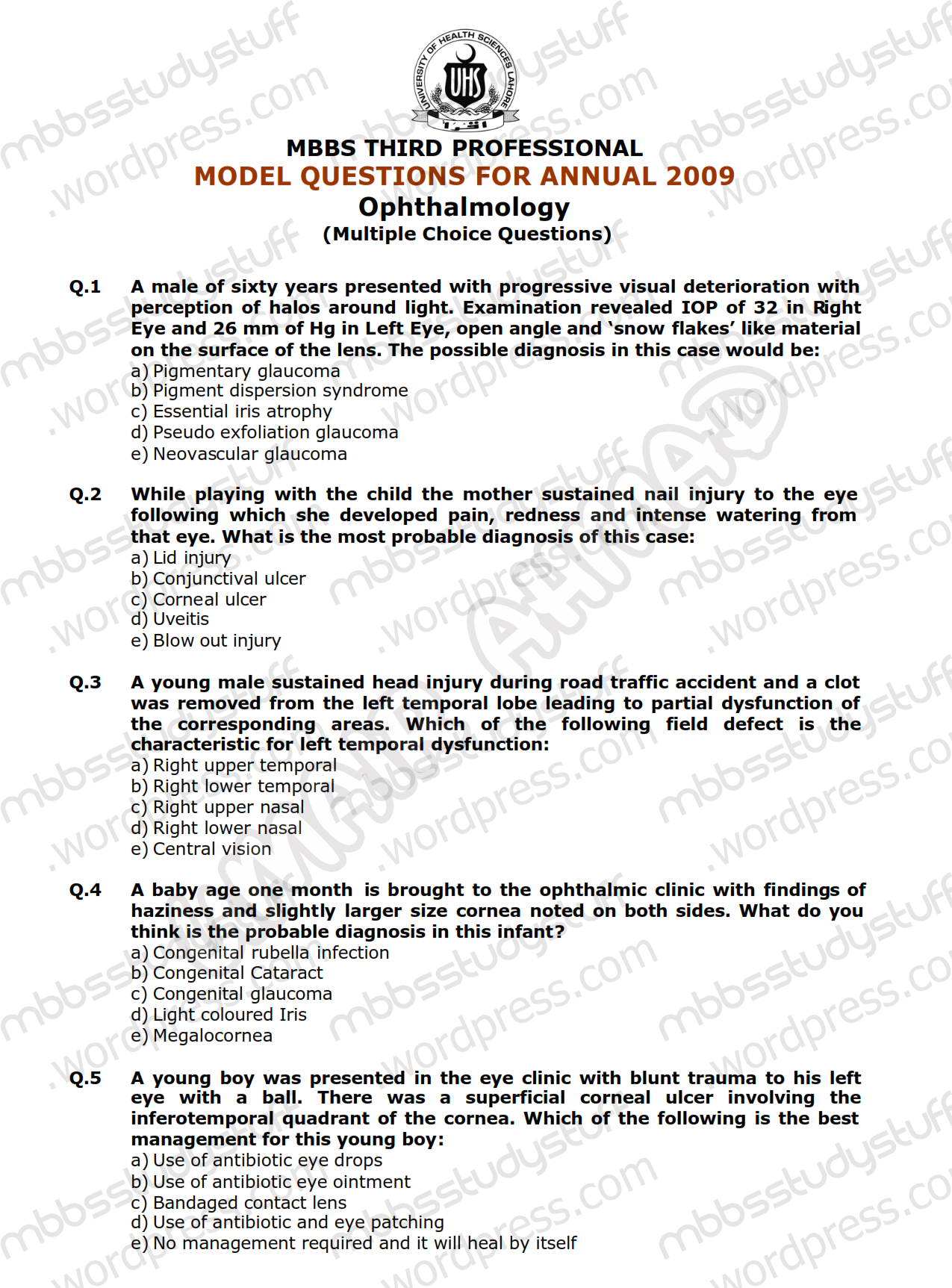Mcq in Ophthalmology