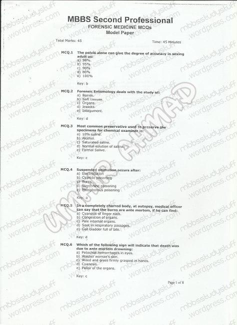 Forensic Model MCQ 2007 (1)