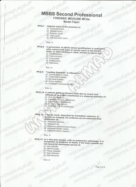 Forensic Model MCQ 2007 (2)