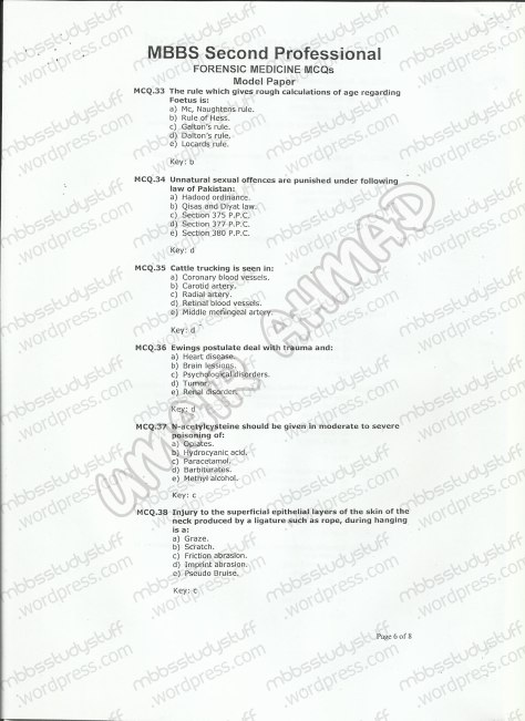 Forensic Model MCQ 2007 (6)