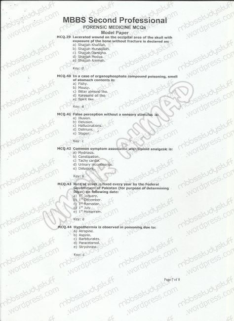 Forensic Model MCQ 2007 (7)