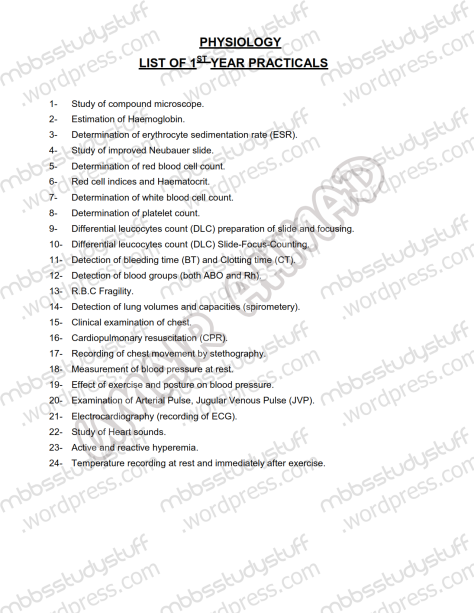 1st-year-mbbs-physio-practicals-list