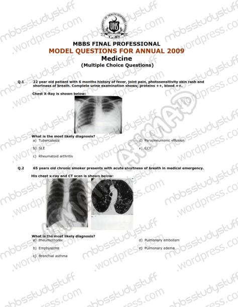 Medicine-II-Model-MCQ-2009-(1)