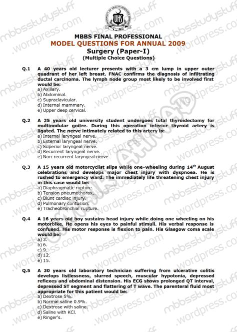 Surgery-I-Model-MCQ-2009-(1)