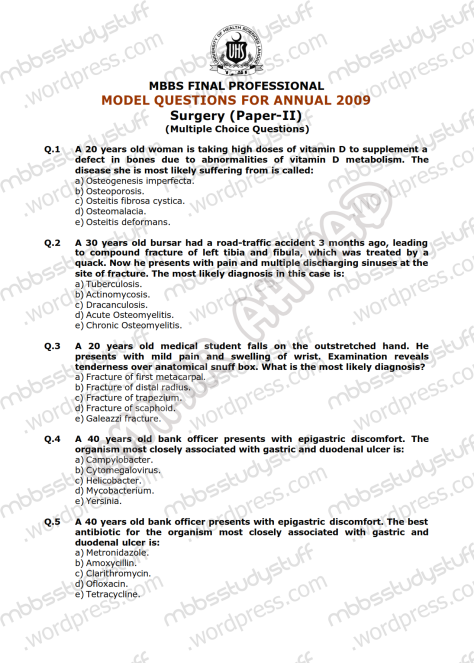 Surgery-II-Model-MCQ-2009-(1)