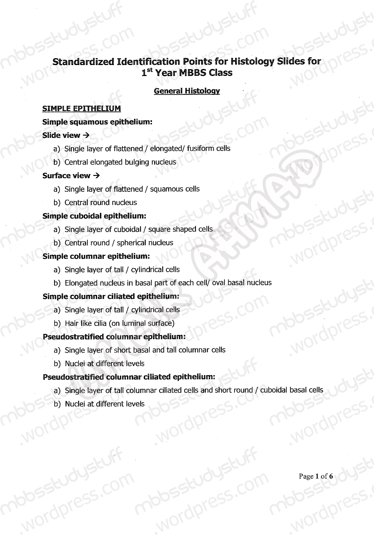 Histology Identification Points For 1st Year MBBS By UHS | MBBS ...