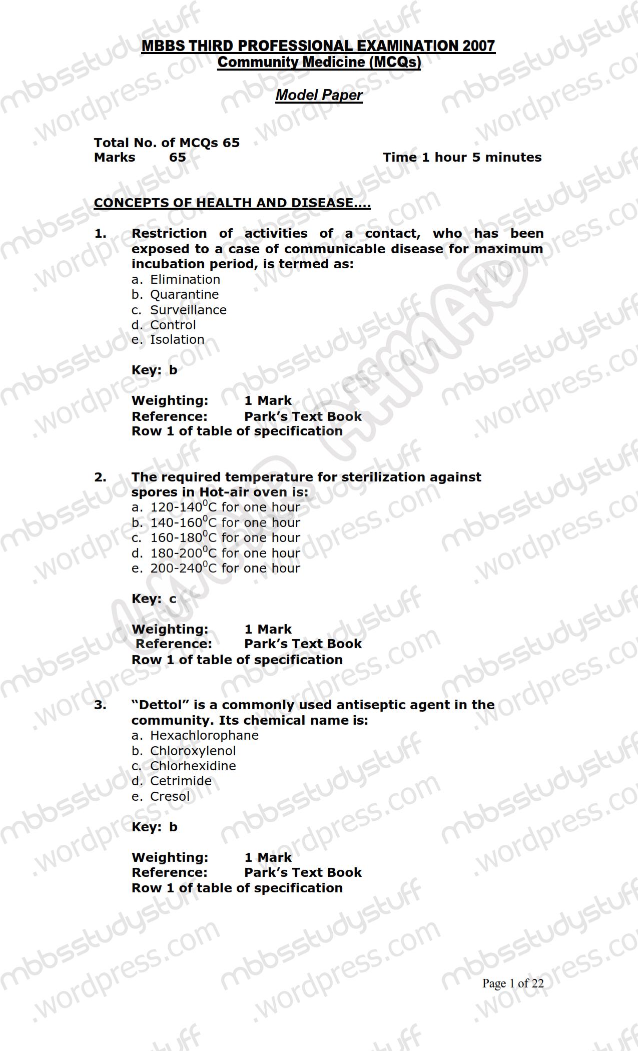 COMMUNITY MEDICINE MCQ MODEL PAPER 2007 | MBBS Study Stuff