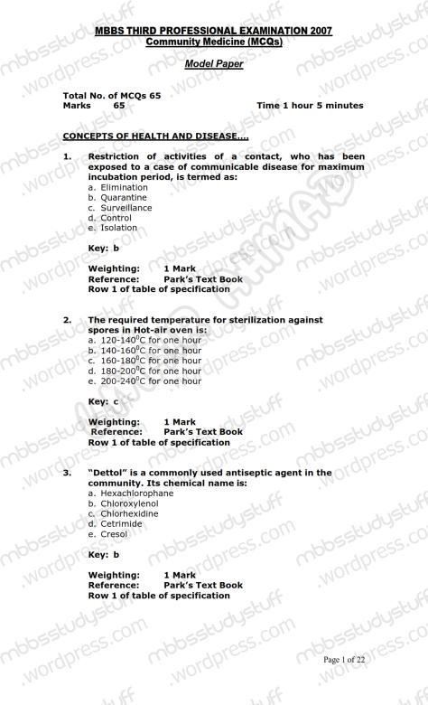 Community Medicine Model MCQ 2007 (1)