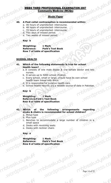 Community Medicine Model MCQ 2007 (14)