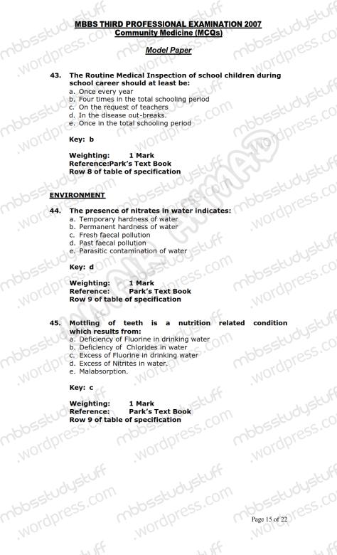 Community Medicine Model MCQ 2007 (15)