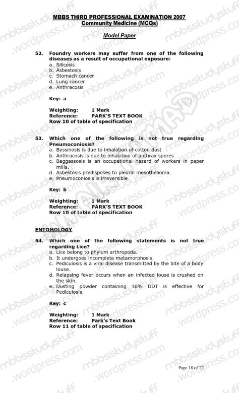Community Medicine Model MCQ 2007 (18)