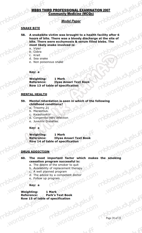 Community Medicine Model MCQ 2007 (20)