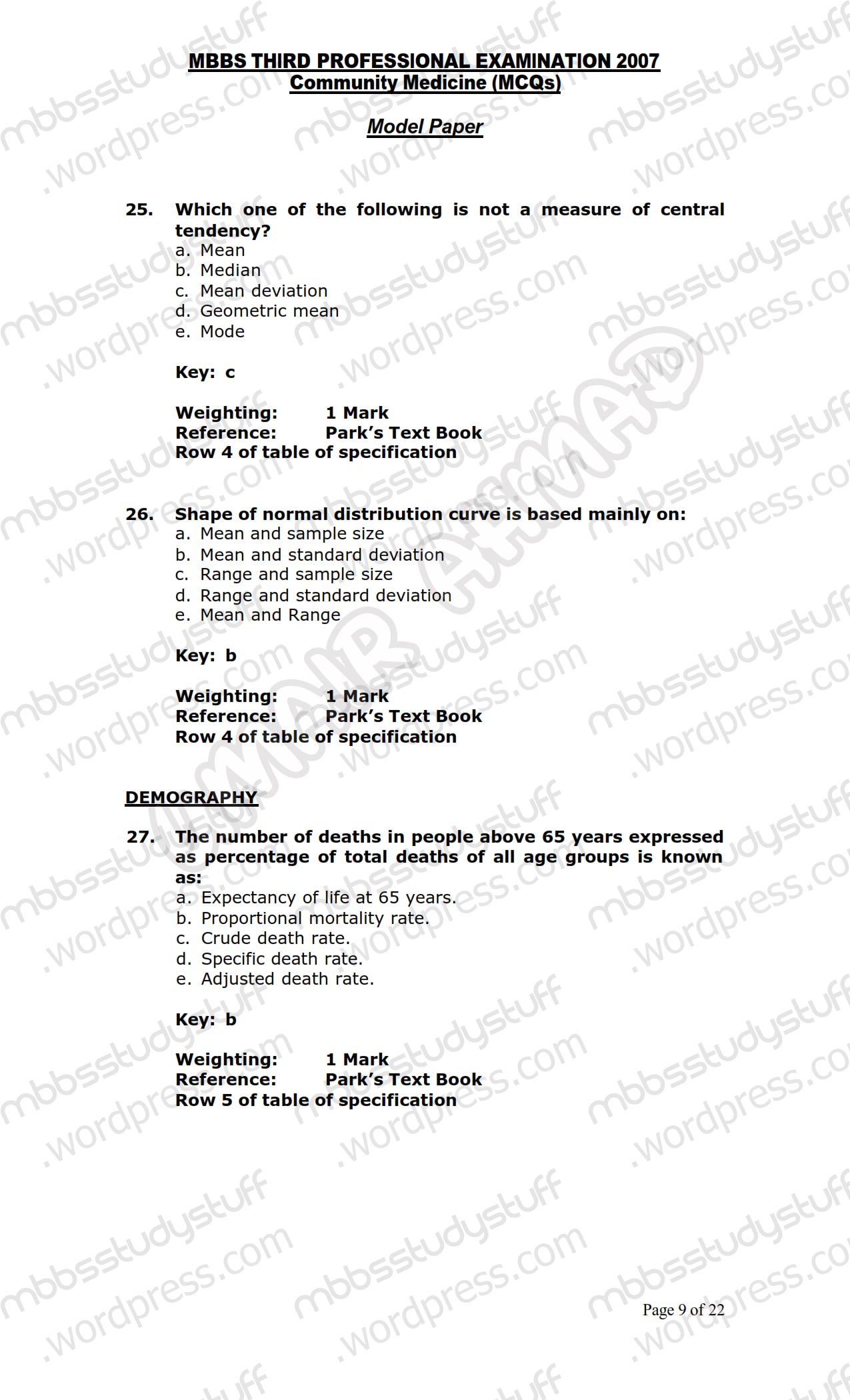 COMMUNITY MEDICINE MCQ MODEL PAPER 2007   MBBS Study Stuff