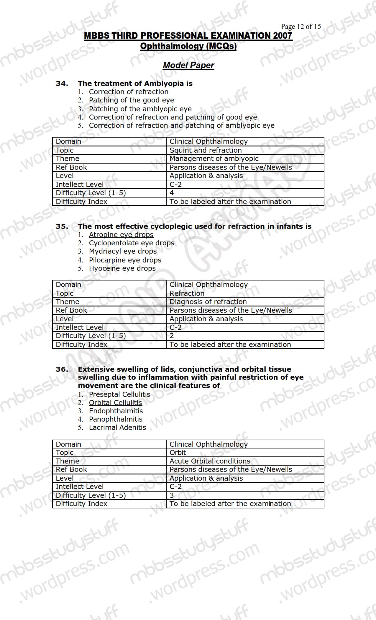 EYE MCQ MODEL PAPER 2007 | MBBS Study Stuff