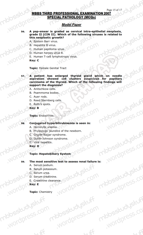 SPECIAL PATHO Model MCQ 2007 (15)