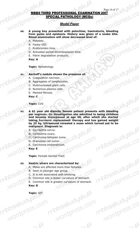 SPECIAL PATHO Model MCQ 2007 (16)