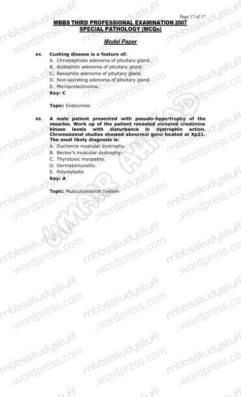 SPECIAL PATHO Model MCQ 2007 (17)