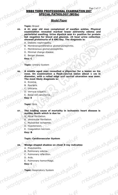SPECIAL PATHO Model MCQ 2007 (2)