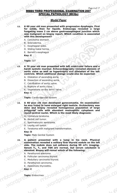 SPECIAL PATHO Model MCQ 2007 (4)