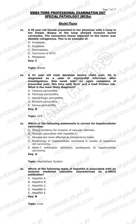 SPECIAL PATHO Model MCQ 2007 (7)