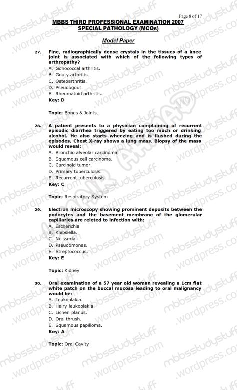 SPECIAL PATHO Model MCQ 2007 (8)
